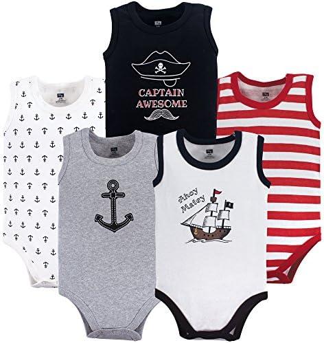 Hudson baby Unisex Cotton Sleeveless Bodysuits Toddler T-Shirt Set