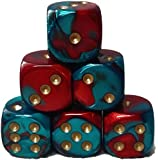 Custom & Unique {Standard Medium 16mm} 6 Ct Pack Set of 6 Sided [D6] Square Cube Shape Playing & Game Dice w/ Rounded Corner Edges w/Swirl Pearl Agate Stone Two Tone Design [Red, Teal & Gold]