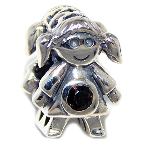 Pro Jewelry 925 Solid Sterling Silver Two-sided Little Girl with Brown Crystals Charm Bead