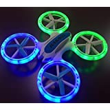 "Haktoys HAK905 7"" 4 Channel 2.4GHz LED Light Up RC Quadcopter with 6 Axis Gyroscope and 360° Spins and Turns - Colors May Vary"
