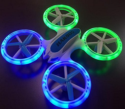 Haktoys HAK905 7″ 4 Channel 2.4GHz LED Light Up RC Quadcopter with 6 Axis Gyroscope and 360° Spins and Turns – Colors May Vary