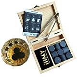 Image of Whiskey Stones Gift Set with Stainless Steel Tong Granite Whisky Rocks Cylindrical in Shape Pack of 9 Drinking Stones Packaged in Vintage Wooden Box by iiiMY