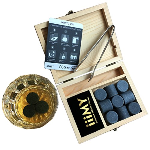 Whiskey Stones Gift Set with Stainless Steel Tong Granite Whisky Rocks Cylindrical in Shape Pack of 9 Drinking Stones Packaged in Vintage Wooden Box by iiiMY