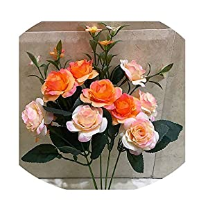 Sevem-D New Artificial Flowers 10 15 Heads French Rose Floral Bouquet Arrange Table Rose Wedding Decoration 89