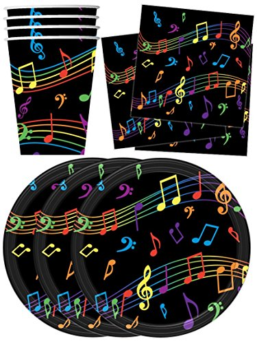Colorful Music Notes Birthday Party Supplies Set Plates Napkins Cups Tableware Kit for 16 by Birthday (Music Note Plates)