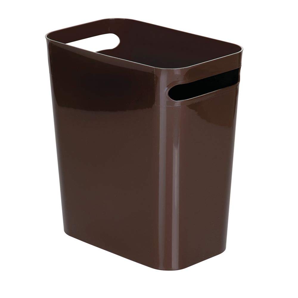 """mDesign Slim Plastic Rectangular Large Trash Can Wastebasket, Garbage Container Bin, Handles for Bathroom, Kitchen, Home Office, Dorm, Kids Room - 12"""" High, Shatter-Resistant - Dark Brown"""