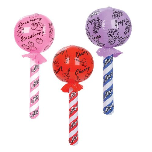 (1DZ) Inflatable LOLLIPOPS ~ Party Favor Decor ~ Carnival Themed ~ Strawberry Grape Cherry ~ Fun Accessory Birthday Prize Giveaway ~ 24'' Toy New in Package]()