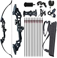 """Monleap Archery 51"""" Takedown Recurve Bow and Arrows Set for Adults Metal Riser Longbow Kit Right Hand Str"""