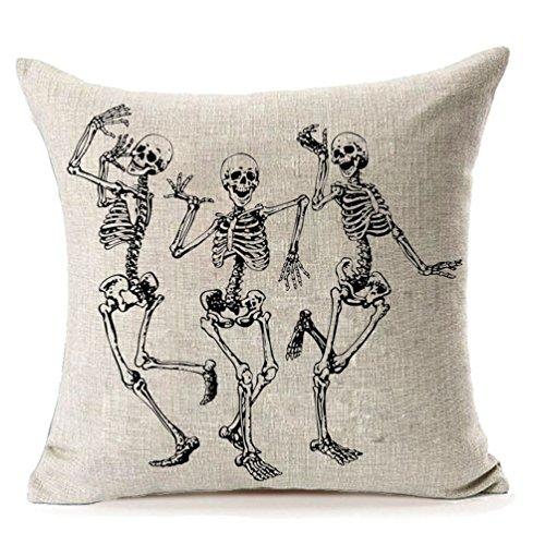 MFGNEH Halloween Skull Pillow Covers, Home Decor Cotton Linen Sofa Throw Pillow Case Cushion Cover 20