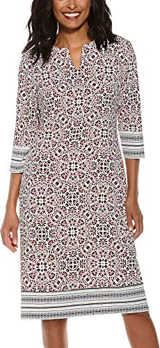 - Coolibar UPF 50+ Women's Fiji Long Tunic Dress - Sun Protective (2X- Red Isle Medallion)