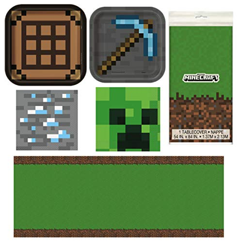 Unique Minecraft Party Table Decorations Dinnerware Bundle - Officially Licensed Dinner and Dessert Paper Plates, Luncheon and Beverage Paper Napkins and Table Cover]()