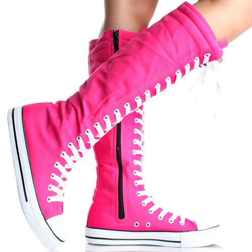 9125de2141cf29 Canvas Sneakers Ladies Flat Tall Punk Womens Skate Shoes Lace up Knee High  Boots