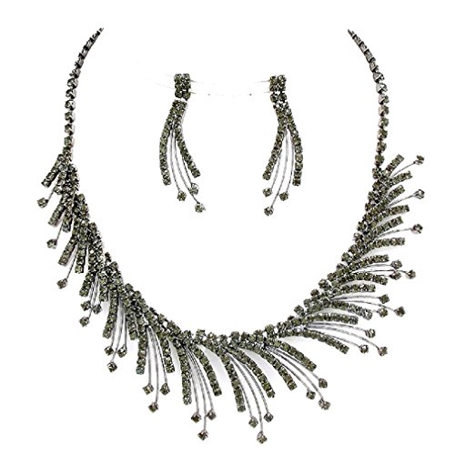 Dramatic Statement Jewelry Onyx Black Austrian Crystal Design Fringe Stud Earrings Necklace Set ()