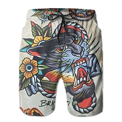 Beachs Tattoo Print Tiger Unique Quick Drying Men Board Shorts Pool Party Swim Short M-XXL