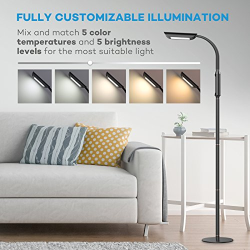 Floor Lamp, VAVA Dimmable LED Floor Lamps for Living Room, 1815 Lumens & 50,000 Hours Lifespan, Standing Lamp Desk Lamp Two in One, Flexible Gooseneck, Touch Control Panel, UL Adapter, 12W, Black by VAVA (Image #1)