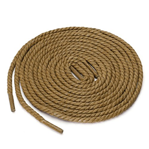 Braided Waxed - uxcell 2 Pairs Round Rope Waterproof Braided Waxed Casual Shoelaces Dress Shoes Laces & Boot Lace Khaki 150cm