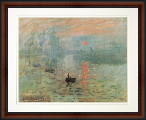 Impression Sunrise by Claude Monet. Framed Art Print Poster. Custom Made Real Wood Dark Walnut with Black Trim Frame (22 1/4 x 18 1/4) (Sun Framed)