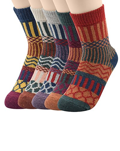 Zando Womens Super Thick Merino Ragg Knit Warm Wool Crew Mid-Calf Winter Socks J Wave-5