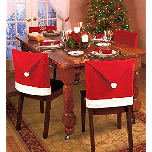 gabkey 4 pcs santa hat dining chair covers christmas party cover dinner table decoration 5060cm - Dining Room Christmas Decorations
