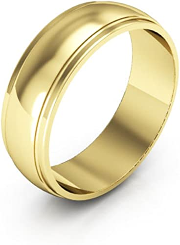14K White Gold mens and womens plain wedding bands 3mm half round edge