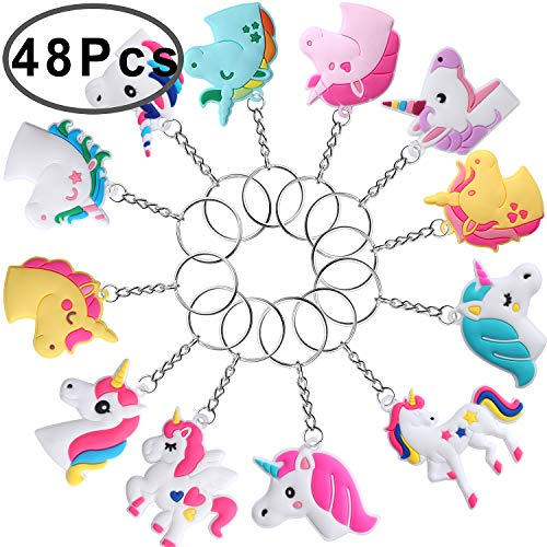 Hicdaw 48 Pcs Keychain for Unicorn Party Favors - Assorted Key Chain Keyring Holder for Unicorn Party Favor - Gifts for Kids and Adults
