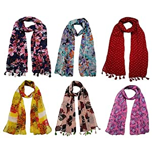 FusFus Women's Chiffon Printed Trendy Stoles, Free Size (Multicolour, F092) – Pack of 6