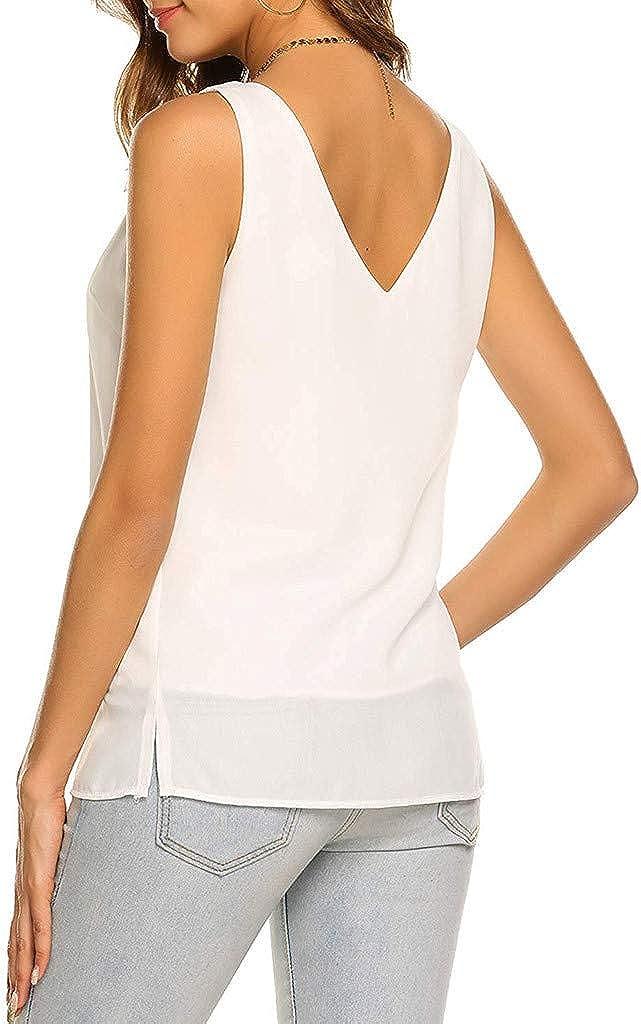 general3 Women Chiffon Tank Tops Summer Sleeveless Backless V-Neck Vest Shirt Workout Fitness Slim Blouse
