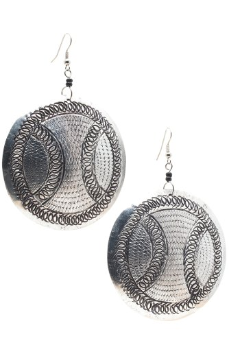 Maisha Fair Trade Hand Hammered Antiqued Large Circle Drop Earring