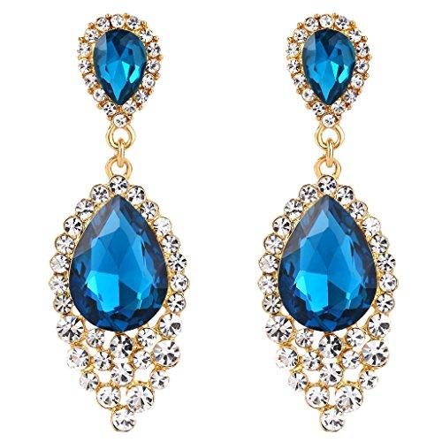 BriLove Women's Wedding Bridal Crystal Teardrop Cluster Beads Chandelier Dangle Pierced Earrings Blue Topaz Color (Color Beads Fashion Earrings)