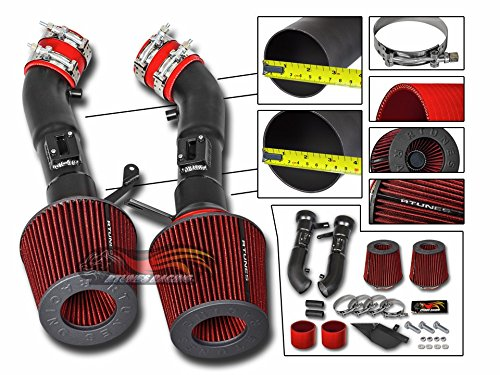 R&L racing Cold Heat Shield Air Intake Matte Black + RED Filter For 09-14 Nissan 370Z 3.7L V6