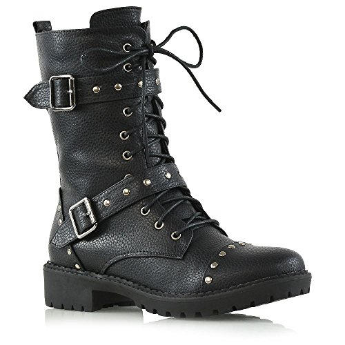 ESSEX GLAM Womens Mid Calf Black Synthetic Leather Biker Boots Ladies Lace Up Studded Military Shoes 7 B(M) US