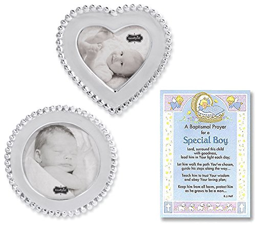 Baptism Gifts for Boy | Beaded Circle and Heart Frame Set From Mud Pie and a Baptism Prayer Card | Christening Gift for Boys from (Beaded Pie)