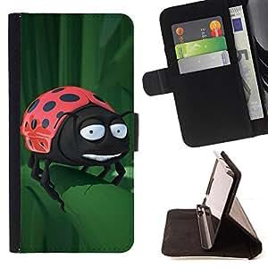 BullDog Case - FOR/Sony Xperia M2 / - / Funny Ladybug On Leaf /- Monedero de cuero de la PU Llevar cubierta de la caja con el ID Credit Card Slots Flip funda de cuer