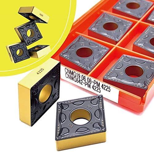 WITHOUT BRAND 10pcs CNMG160608 CNMG190608 PM 4225 Karbid-Einsätze Drehmaschine Drehwerkzeug Externe Drehwerkzeugeinsätze Stahlverarbeitung Drehen (Farbe : CNMG190608 PM 4225)