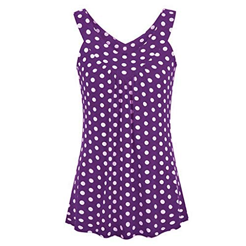 Tantisy ♣↭♣ Women's Plus Size Loose Blouse Stretch Tops Polka Dot V Neck Casual Tunic Shirts Sleeveless Party Blouse Purple