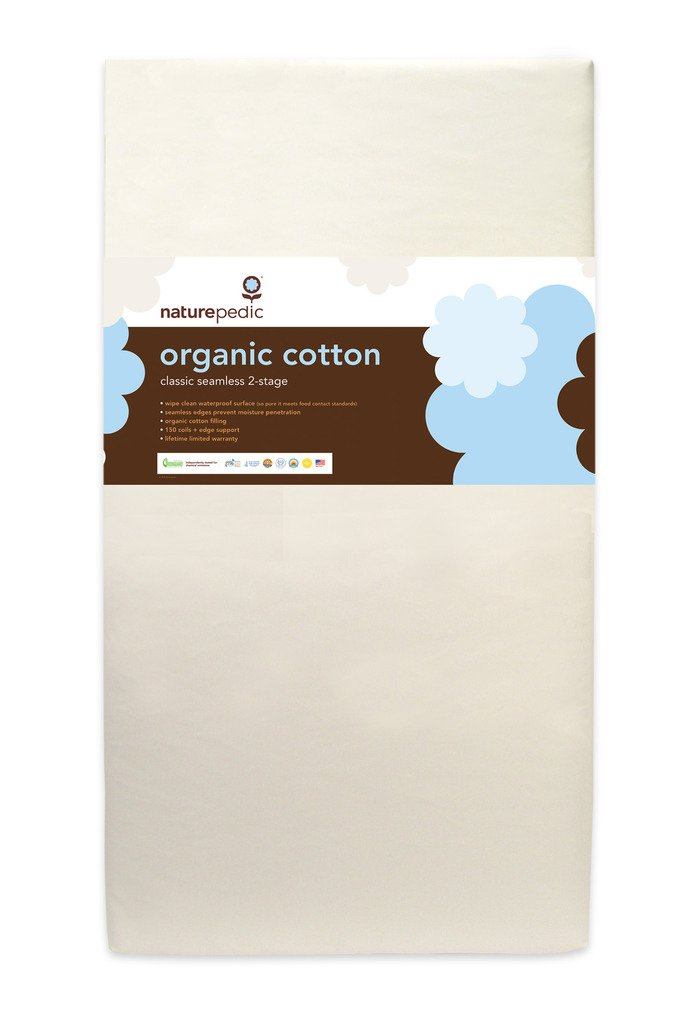 "Naturepedic No Compromise Organic Cotton Classic 150 Seamless Dual Firmness Crib Mattress - 28"" x 52"" x 6"""