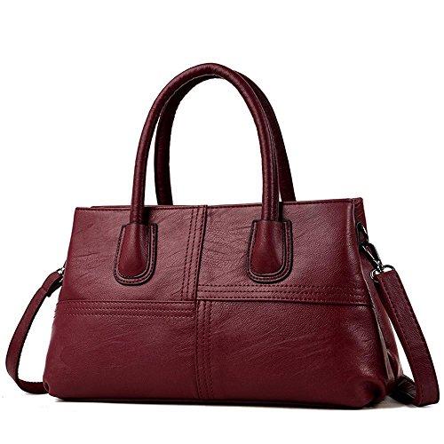 taille sac étages à bandoulière les à Penao coutures deux sac 34cmx10cmx20cm unique Traverser Red ladies fashion PU 8WSn6q