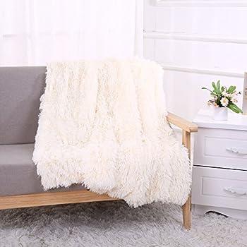 YOUSA Super Soft Shaggy Faux Fur Blanket Ultra Plush Decorative Throw Blanket 51''63'',Cream White