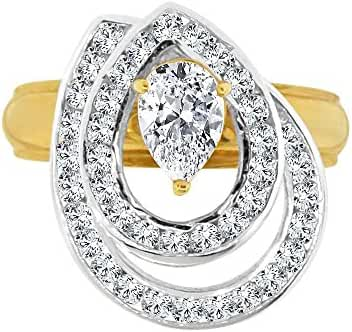 14k Yellow Gold White Rhodium, 2 Layer Spin Motion Ring Pear Shape Created CZ Crystal