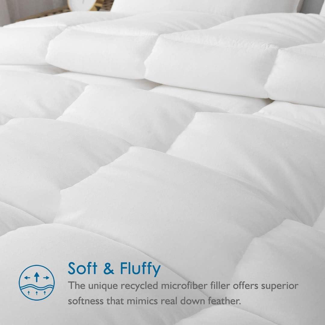 Dafinner 100/% Cotton All Season Down Alternative Comforter Full//Queen, White Ultra-Soft Plush Eco-Responsible Recycled Microfiber Comforter Duvet Insert