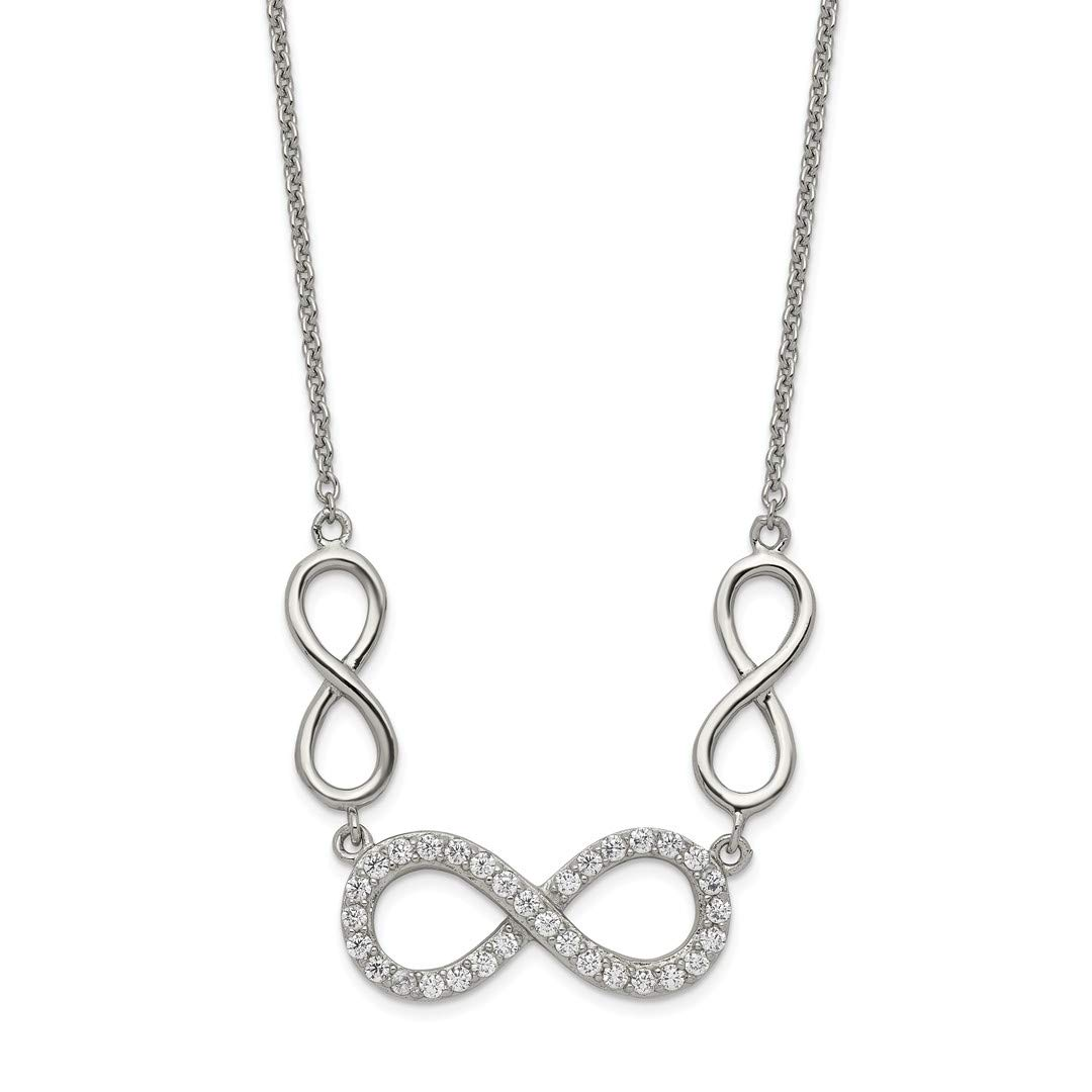 925 Sterling Silver Cubic Zirconia Cz Infinity Symbol Chain Necklace Pendant Charm Fine Jewelry Gifts For Women For Her