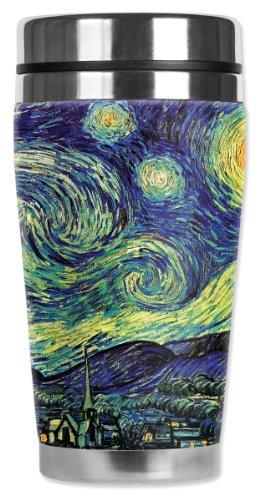 Mugzie Van Gogh Starry Night Travel Mug with Insulated Wetsuit Cover, 16 oz, Black