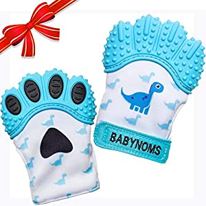 BabyNoms Teething Mitten | The Original Teething Paw | Best Silicone Teething Toys or Teething Ring Provides Self-Soothing Teething Relief | Dino Blue Teether