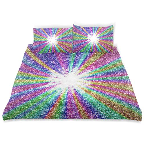 - OSBLI Bedding Duvet Cover Set 3 Pieces Sparkle Rainbow Bed Sheets Sets and 2 Pillowcase for Teens