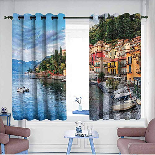 (VIVIDX Blackout Curtains Panels,Italian,Yacht Boat Idyllic Town,Curtains for Living Room,W72x72L)