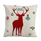 Decorative Pillow Cover - Pillow Cover,Haoricu Simple Stytle Christmas Elk Sofa Bed Home Decor Pillow Case Cushion Cover (Red)