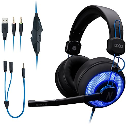 ROSEWILL Stereo Gaming Headset with Mic and LED for PC/Computer/ PS4/ MAC/Xbox One/Laptop/iPad, Gaming Headphone with Blue LED Ring, Adjustable Microphone, Comfortable Headband, in-line Controller
