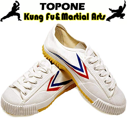 T.O.P ONE Kung Fu Martial Arts Parkour Shoes,Rubber Sole Sneakers-White 47(Men 12.5)