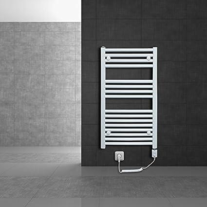 ECD Germany Radiador de baño eléctrico - 600 x 1800 mm - blanco - curvado con