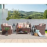 SUNSITT Outdoor Patio Furniture 4-Piece Conversation Set All Weather Woven Brown Wicker Beige Cushions & Coffee Table w/Aluminum Top